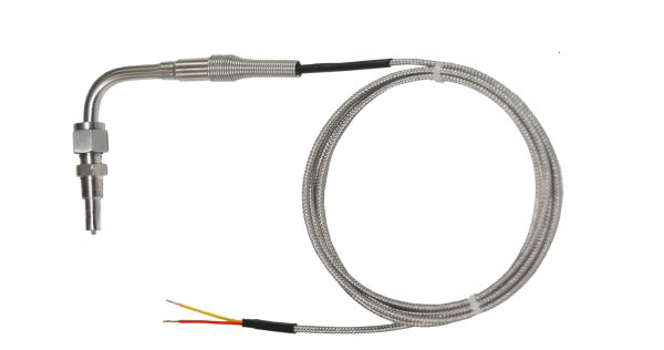 """Titanium Series – .125"""" (1/8"""") Exhaust Temperature Probe with Compression Fitting 112718 (90° Bend)"""